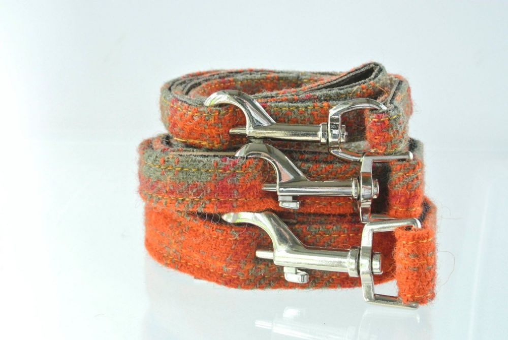 Harris Tweed  Orange  Dog Lead.